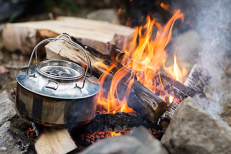 Culinary camping cooking on the fire