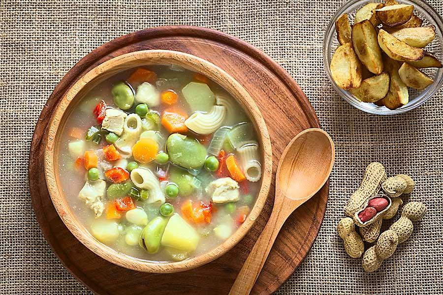 Fava bean and veggie soup