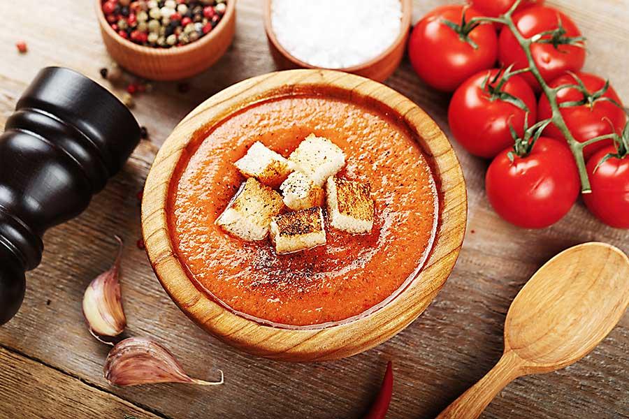 Gazpacho soup breadcrumbs