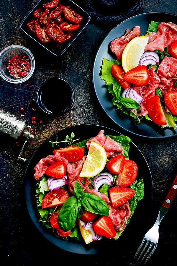 Raw food carpaccio salad