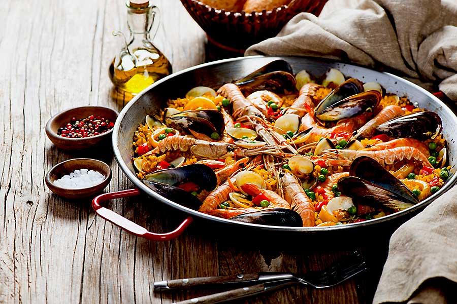 Europe on big pan - traditional seafood paella