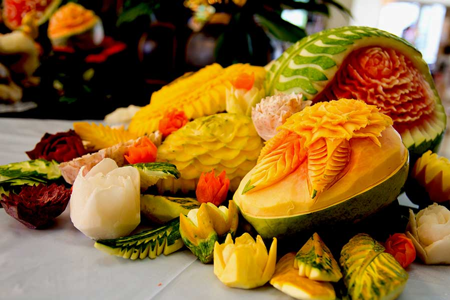 Corporate event fruit carving