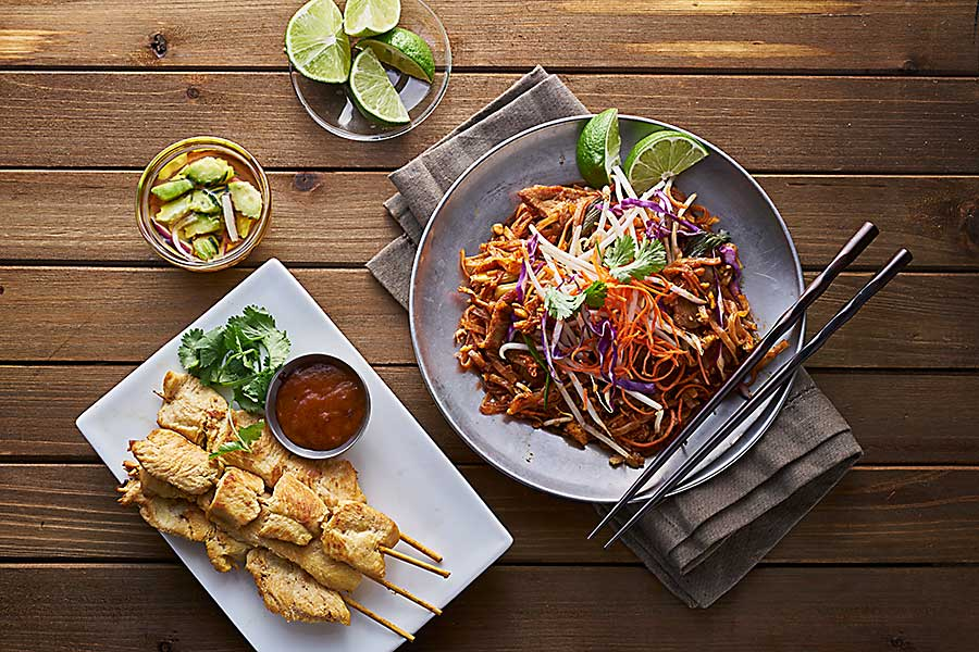 Thai food - beef pad thai and chicken satay