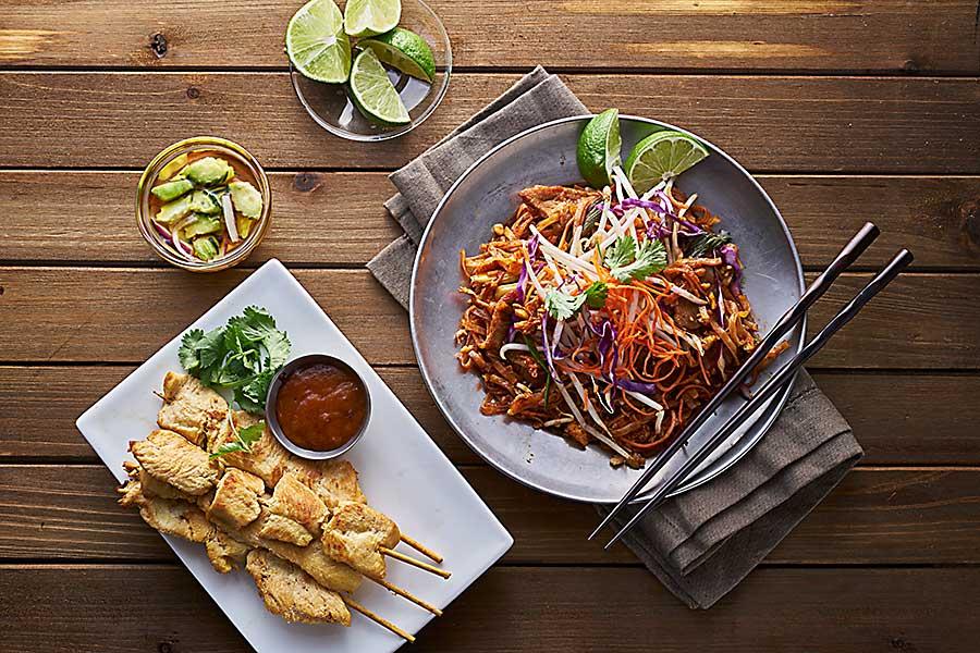 Thai food - beef pad thai and chicken satay