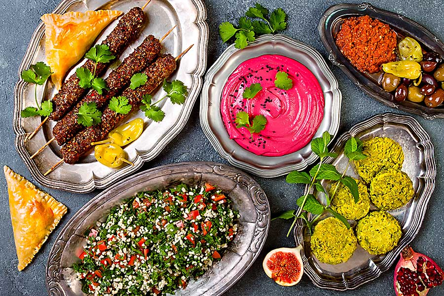Selection of Israeli dishes