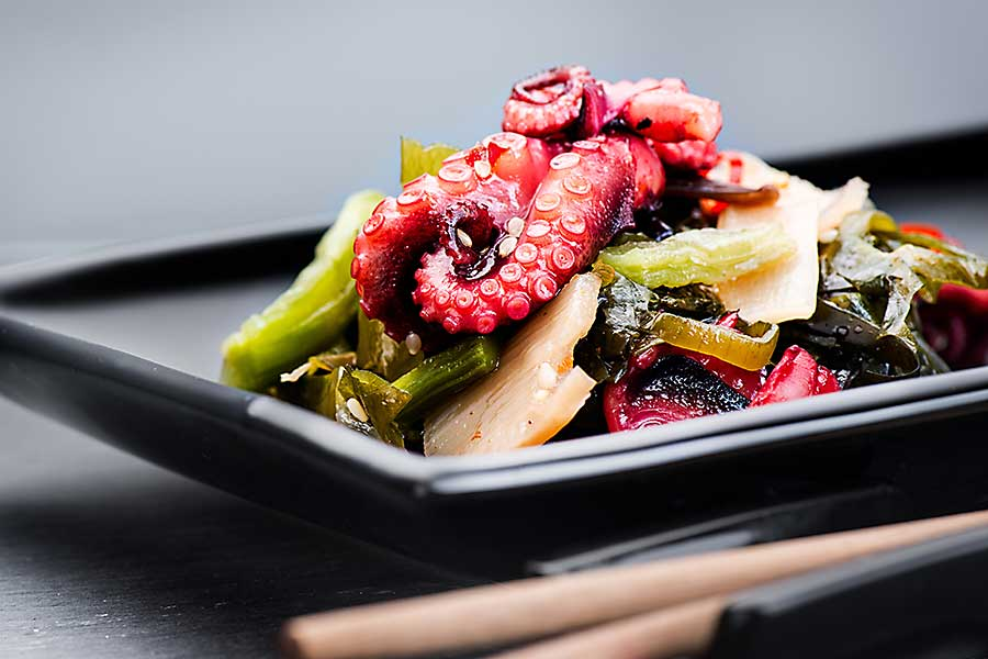 Japanese seafood salad with octopus and ginger