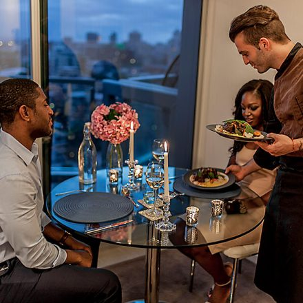 romantic dinner at home with a private chef