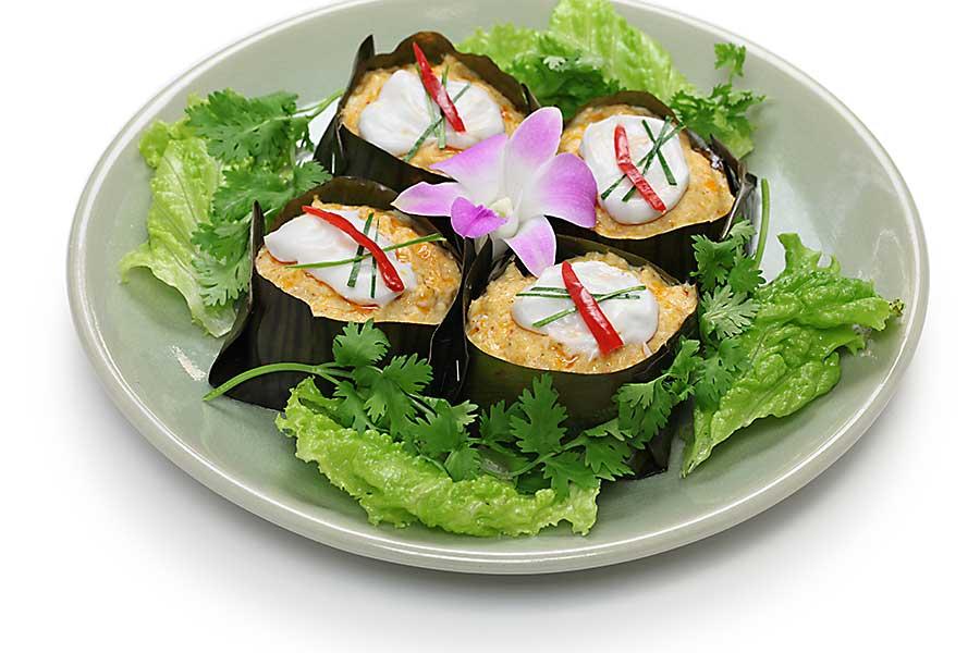 Thai food - hor mok, thai food, steamed fish curry custard in banana leaf