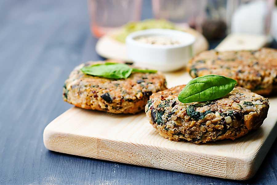 Vegan quinoa eggplant spinach chickpeas Burger.