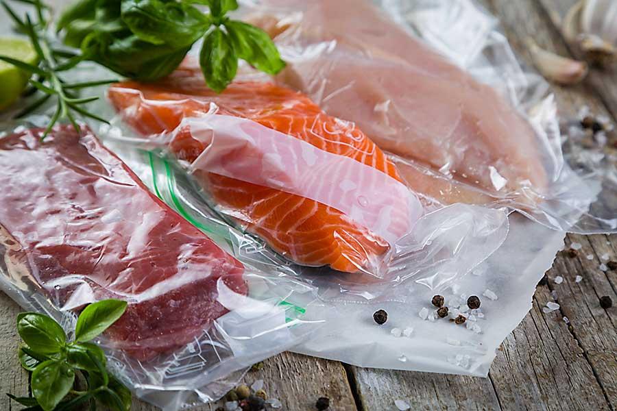 Sous-vide preparation - meat in vaccumed bags