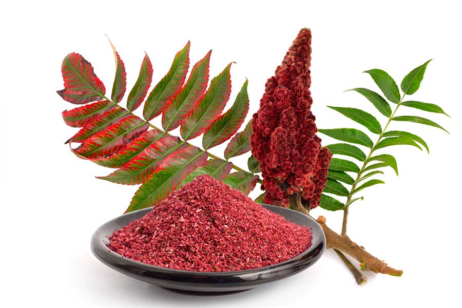 Sumac fruit an bowl of sumac spice