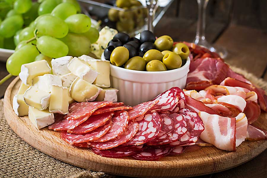 antipasto with salami
