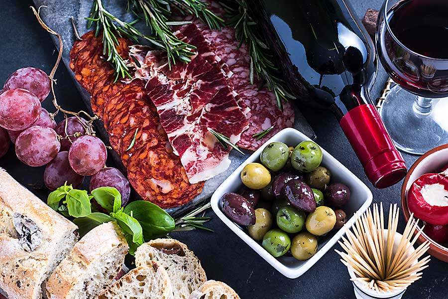 antipasto with olives