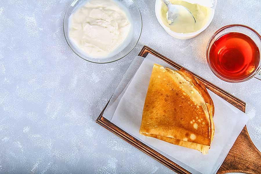Blini with cream