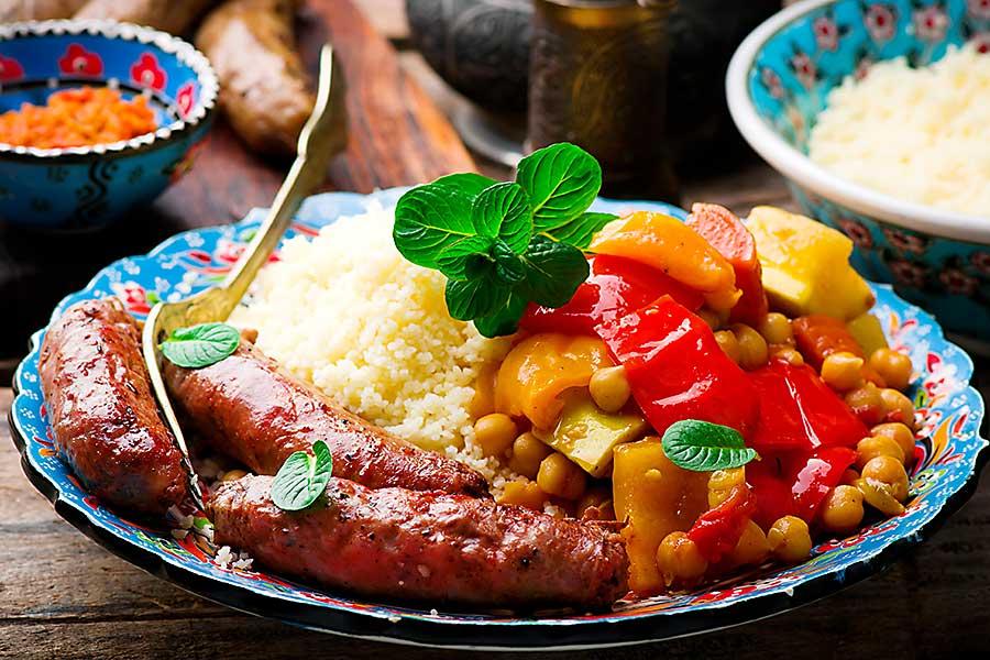 Moroccan dish - couscous and Merguez Sausages