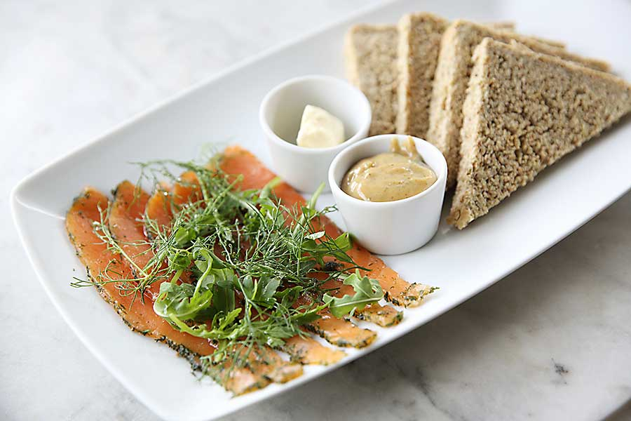 Gravlax is a dish made of raw salmon.