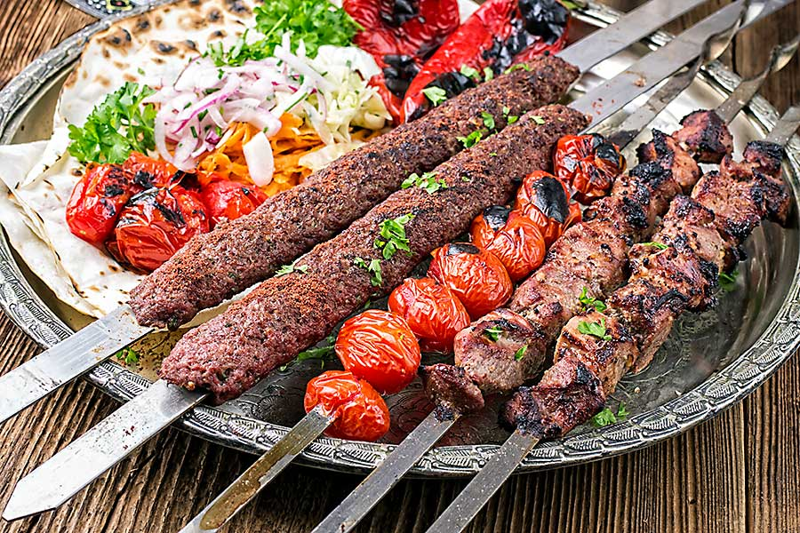 Middle-Eastern cuisine - grilled koobideh with kebab