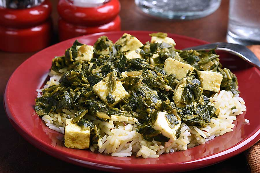 A plate of Palek Paneer Basmiti, an Indian dish