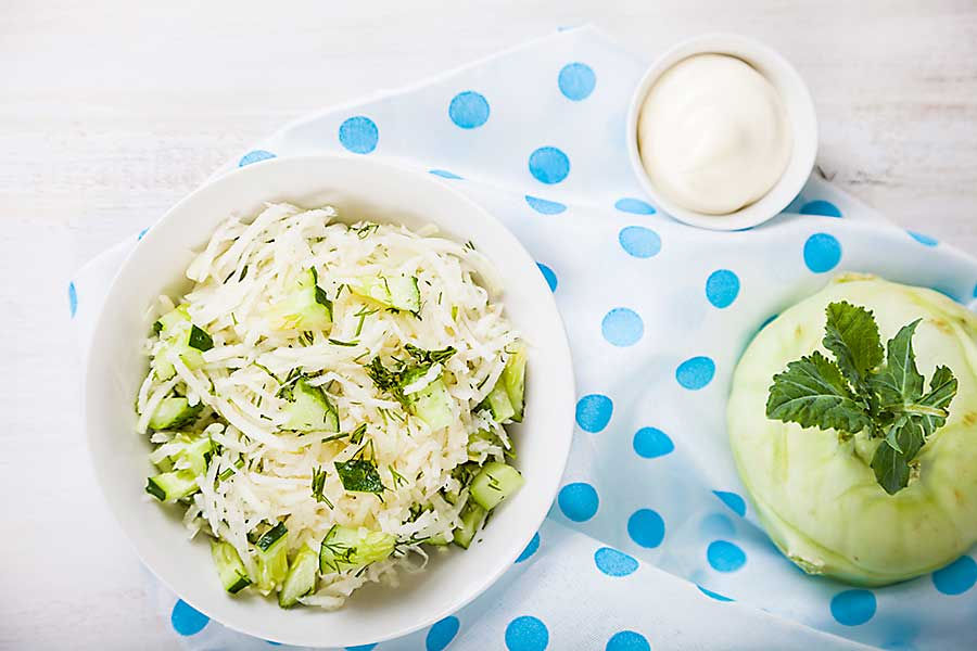 Salad with kohlrabi, cucumber and dill. Vegetarian food. Tasty and healthy dish.