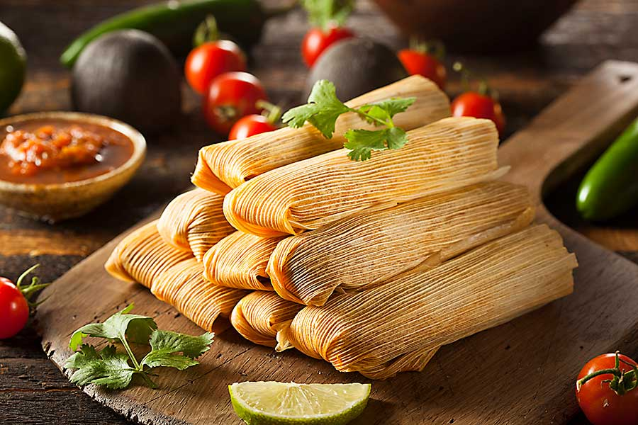 Mexican food - Homemade Corn and Chicken Tamales