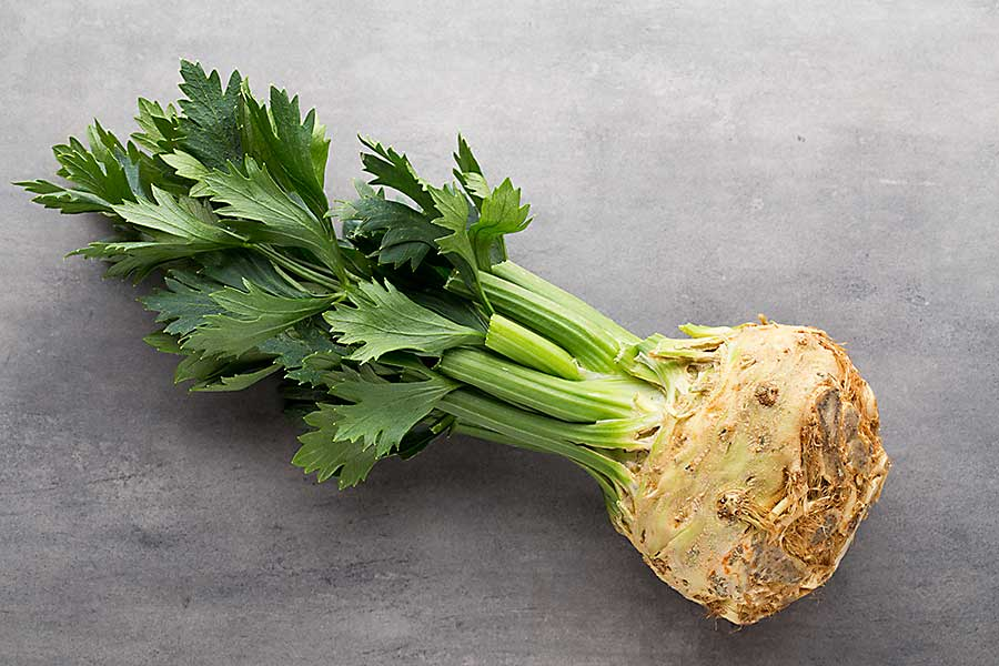 Celeriac with stalks and leaves