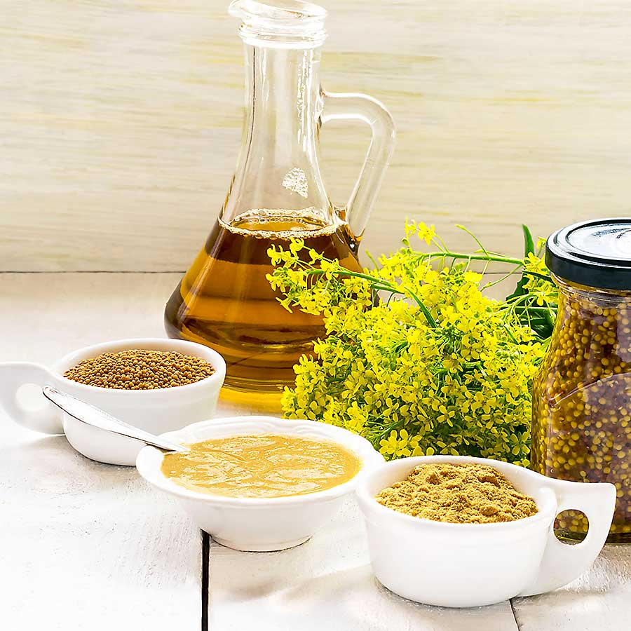 Different types of mustard cream and mustard oil