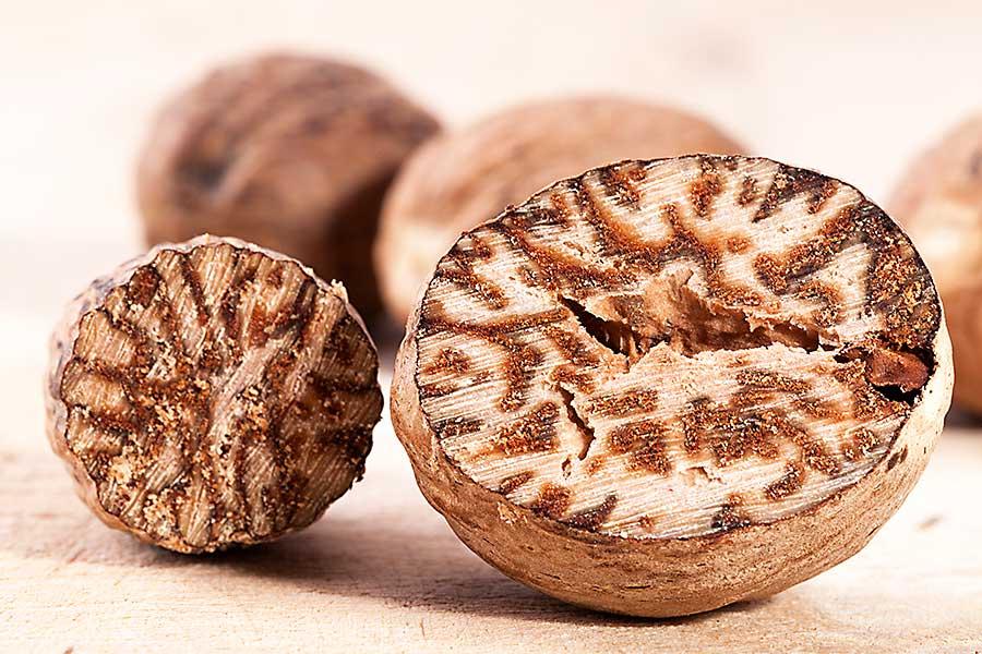 Half of nutmeg seed - closeup