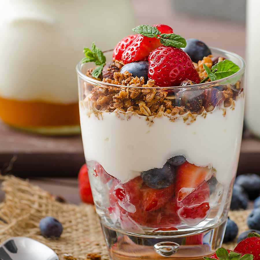 Parfait - Oatmeal and low-fat granola are rich in complex carbohydrates that help regulate the digestive system and blood sugar levels.