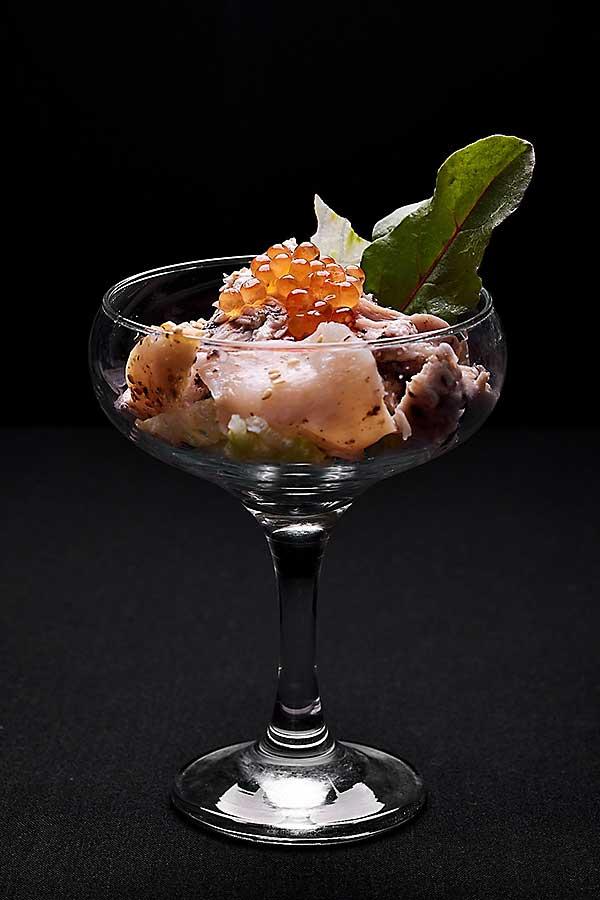 Black truffled organic chicken tossed with fresh NZ King Salmon Caviar