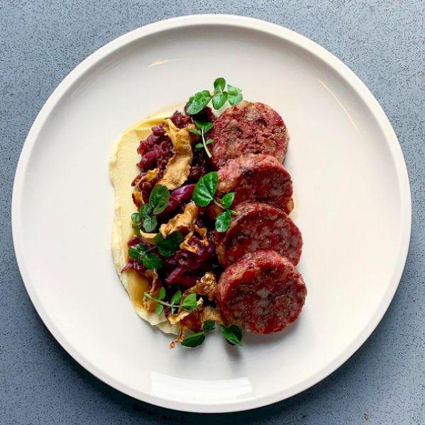 Chef Brendon Walter: Pork cotechino, braised red cabbage, celeriac