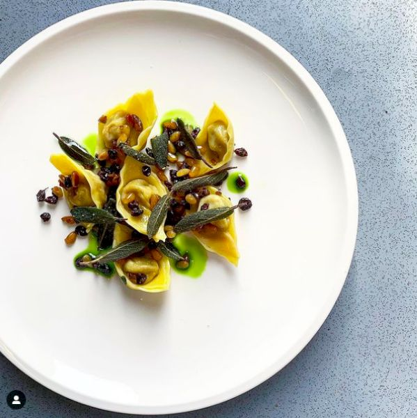 Chef Brendon Walter: Saffron milk cap & chestnut tortellini, pine nut, currant & olive salsa, crisp sage